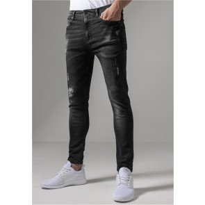 Jeans Urban Classics Skinny Ripped Stretch Denim Black Washed