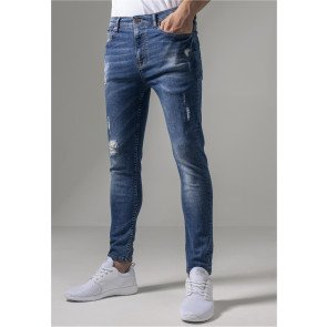 Jeans Urban Classics Skinny Ripped Stretch Denim Blue Washed