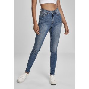 Ladies High Waist Skinny Jeans tinted midblue washed
