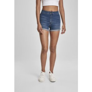 Ladies Slim Fit Denim Shorts mid indigo washed