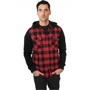 Mikina Urban Classics Hooded Checked Flanell Black Red