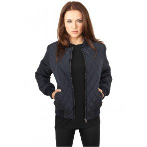 Ladies Diamond Quilt Nylon Jacket navy