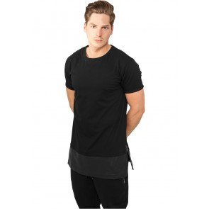 Tričko Urban Classics Long Zipped Leather Imitation Bottom Tee Black