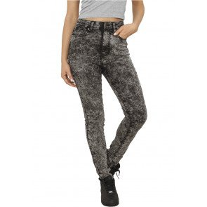 Nohavice Urban Classics Ladies High Waist Denim Skinny Pants Black Denim