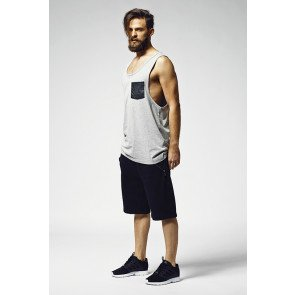 Tričko Urban Classics Leather Imitation Pocket Loose Tank Grey