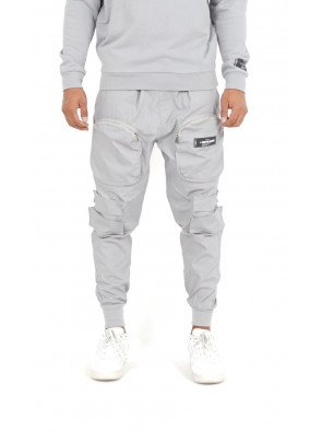 FRONT ZIPE POCKET CARGO PANT - Grey