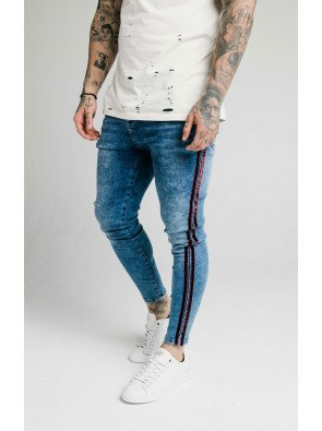 SIKSILK SKINNY VELOUR STRIPE DENIMS