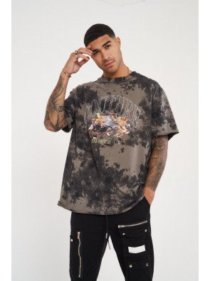BLEACH WASH CAR GRAPHIC RELAXED FIT T-SHIRT