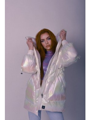 Padded Oversized Pearly Down Jacket White