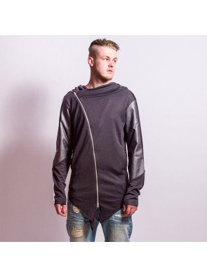 Mikina VSCT Clubwear Hooded Asym-Jkt Leathersleeve Anthracite