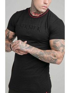 SIKSILK S/S PIPING EMBROIDERY GYM TEE