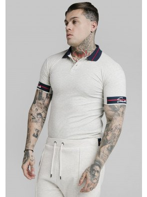 SIKSILK PIQUE POLO SHIRT EXPOSED TAPE