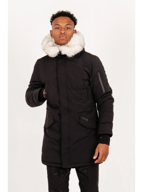 Long Fur Print Parka Black