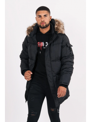 Long Fur Puffer Jacket Black