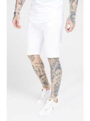 SikSilk Distressed Skinny Shorts – White
