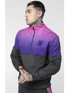 SikSilk Quarter Zip Poly Racer Track Top - Urban Grey & Neon Tri Fade