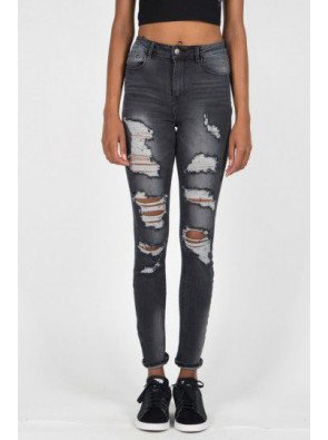 Rifle Sixth June Parisiennes Jean Destroyed Washed Grey