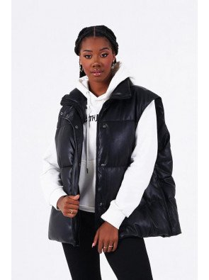 OVERS FAUX LEATHER PUFFER VEST