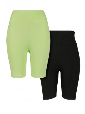 URBAN CLASSICS 2-PACK LADIES HIGH WAIST CYCLE SHORTS ELECTRICLIME/BLACK