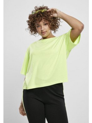 URBAN CLASSICS 2-PACK LADIES SHORT OVERSIZED NEON TEE ELECTRICLIME/BLACK