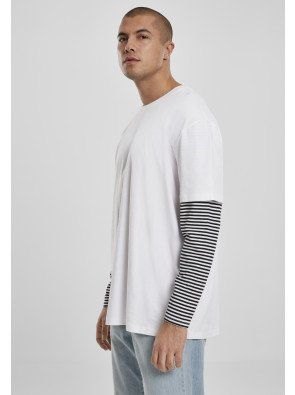 Oversized Double Layer Striped LS Tee white