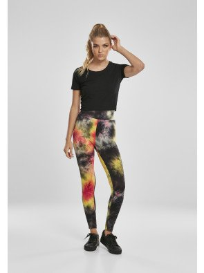 Ladies Tie Dye High Waist Leggings darkpink/black