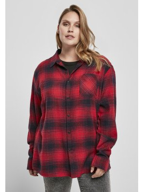 Oversized Checked Grunge Shirt black/red