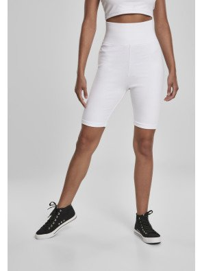 Ladies High Waist Cycle Shorts white