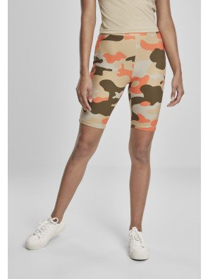 Ladies High Waist Camo Tech Cycle Shorts Double Pack brick camo/olive