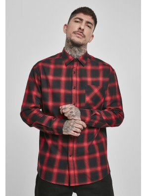 Oversized Checked Shirt black/red