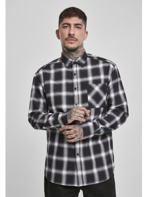 Oversized Checked Shirt black/white
