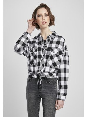 Ladies Short Oversized Check Shirt black/white