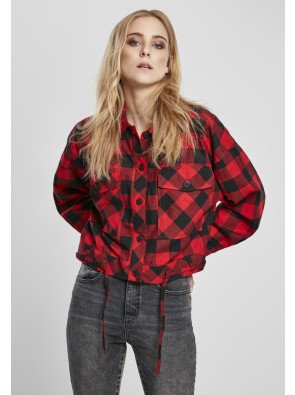 Ladies Short Oversized Check Shirt black/red