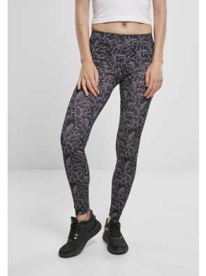 Ladies AOP Leggings hibiscus black