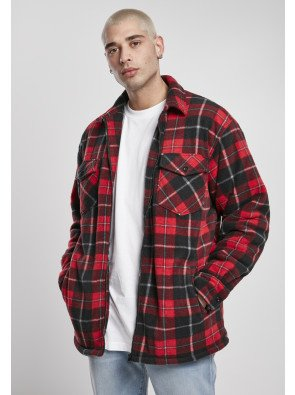 Plaid Teddy Lined Shirt Jacket red/black/white