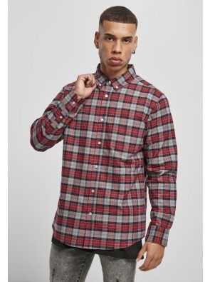 Plaid Cotton Shirt asphalt/red