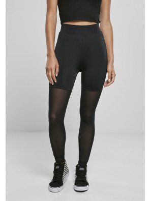 Ladies High Waist Transparent Tech Mesh Leggings black