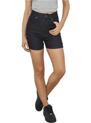 Ladies High Waist Denim Skinny Shorts raw blue denim