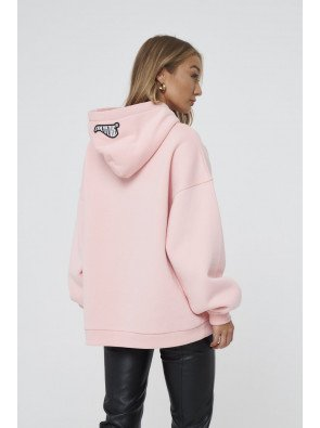 COUTURE APPLIQUE VOLUME HOODIE IN PINK