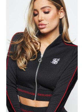 SIKSILK IMPERIAL CROPPED TRACK TOP