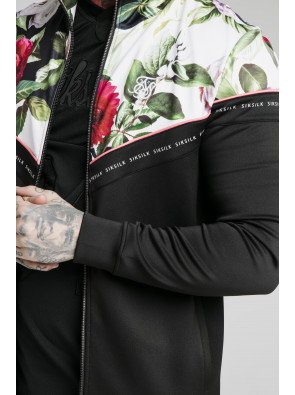 SIKSILK FLORAL PIXEL FUNNEL NECK ZIP THROUGH HOODIE