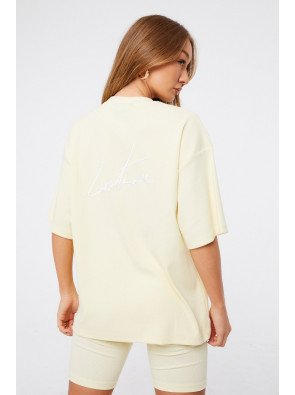 REVERSE SIGNATURE RIBBED TWINSET TOP