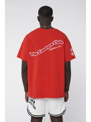 CHENILLE BADGED SPORTS GRAPHIC T-SHIRT