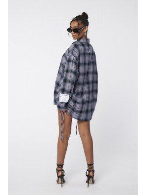 OVERSIZE RUCHED SIDE CHECK SHIRT