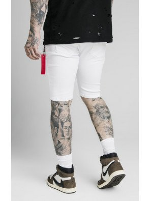 SIKSILK DISTRESSED DENIM FLIGHT SHORTS