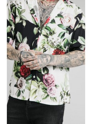 SIKSILK FLORAL PIXEL HIGH COLLAR RESORT SHIRT