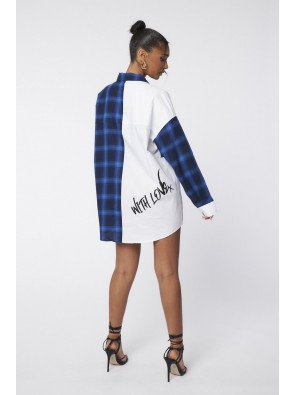 SPLICED OVERSIZED CHECK SHIRT WITH BRALET