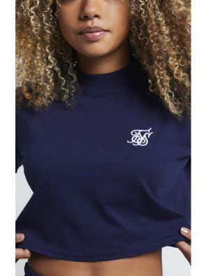 SikSilk Retro Box Fit Crop Tee – Navy
