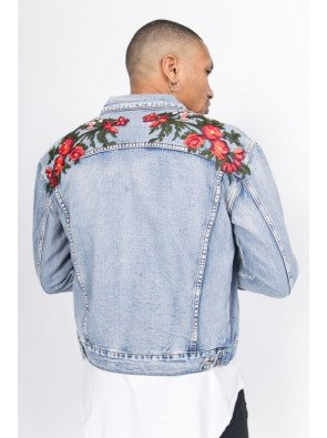 Rifľová bunda Sixth June Denim Roses Patches Jacket