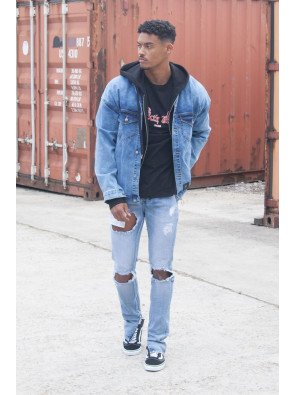 Dropped Shoulders Denim Jacket Blue